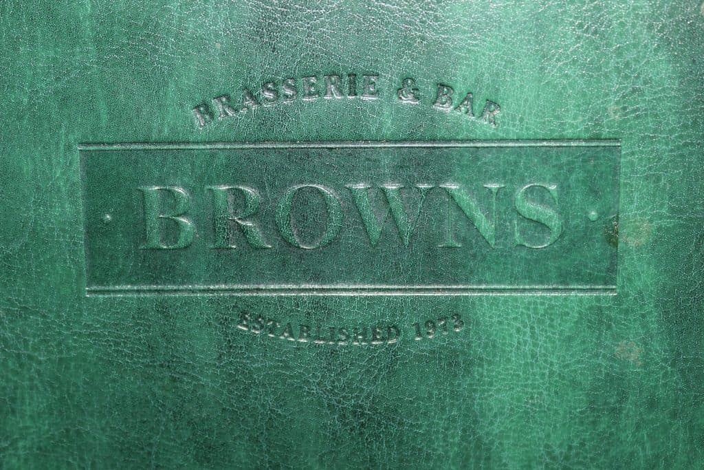 Browns Brasserie menu